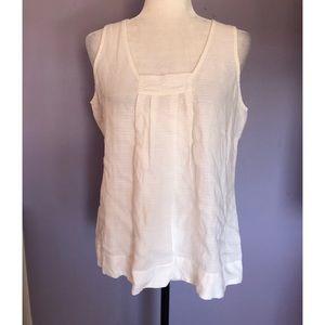 Eileen Fisher white linen sleeveless blouse